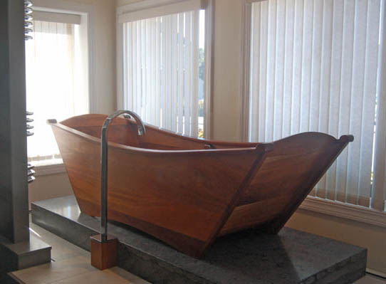 wooden bathtub - single wood tub made of khya mahogany