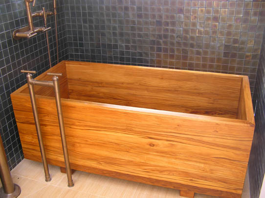 ofuro tub made of plantation teak