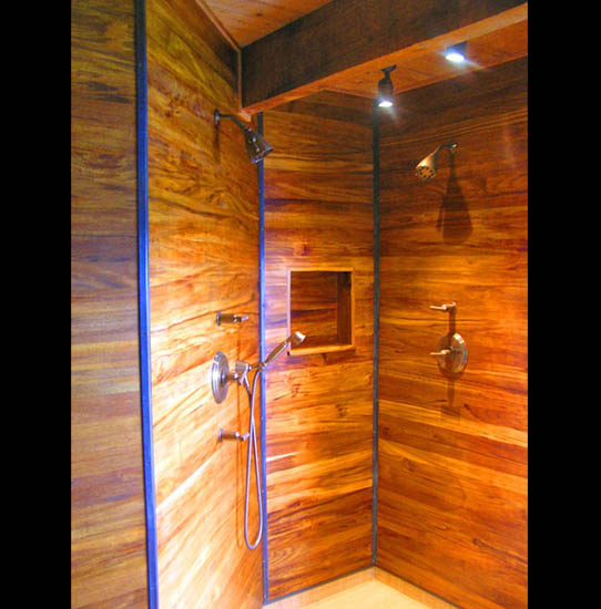 japanese ofuro tub and teak shower enclosures